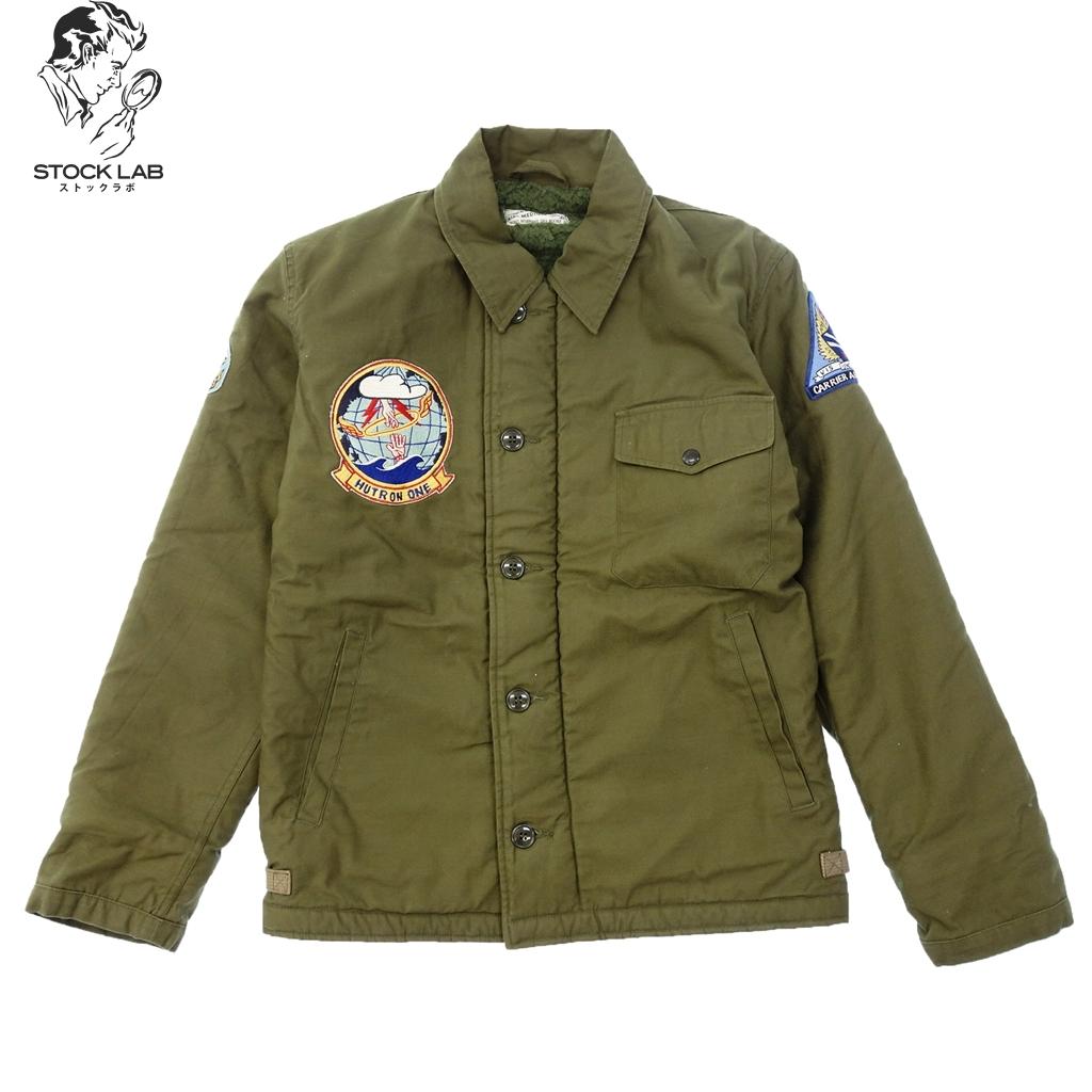 極美品◆BUZZ RICKSONS バズリクソンズ A-2 ミリタリー デッキジャケット ワッペン付き U.S.NAVY M カーキ メンズ