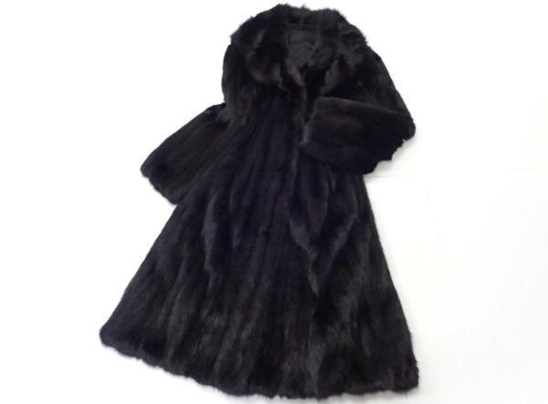 美品◆セーブル ロングコート 染め 102cm 黒系 毛皮 リアルファー