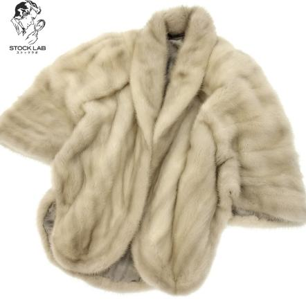 美品◆サファイアミンク ケープ ポンチョ 毛皮 MINK ファー グレー レディース【中古】