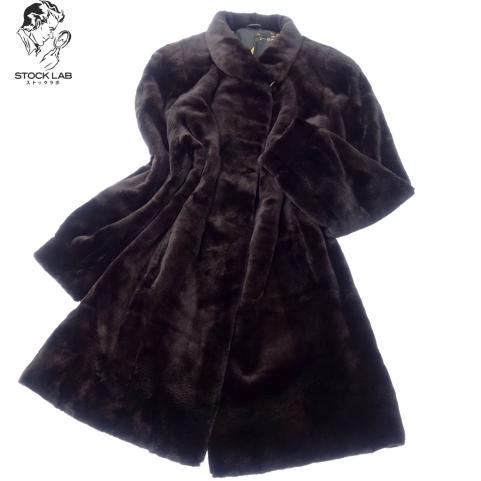 極美品◆SAGAMINK サガ シェアードミンク ロングコート 裏地刺繍 黒系 毛皮 ファー