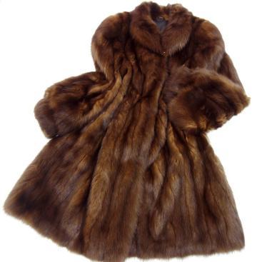 極美品◆SOBOL ロシアンセーブル デザインロングコート F 茶 毛皮 ファー