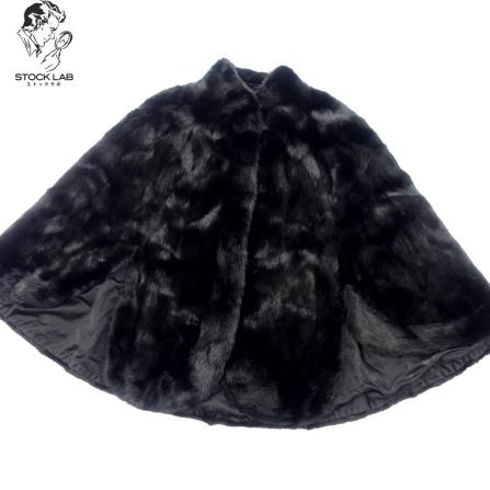 中古◆ミンク ポンチョ コート 黒 レディース 毛皮 MINK ファー