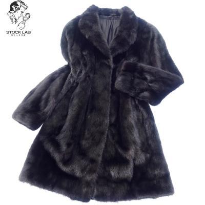 美品◆MG Sable ミンク セミロングコート 11 黒系 毛皮 MINK ファー
