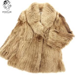 中古◆EMBA エンバ ブルーフォックス ハーフコート 13 茶系 毛皮 ファー レディース