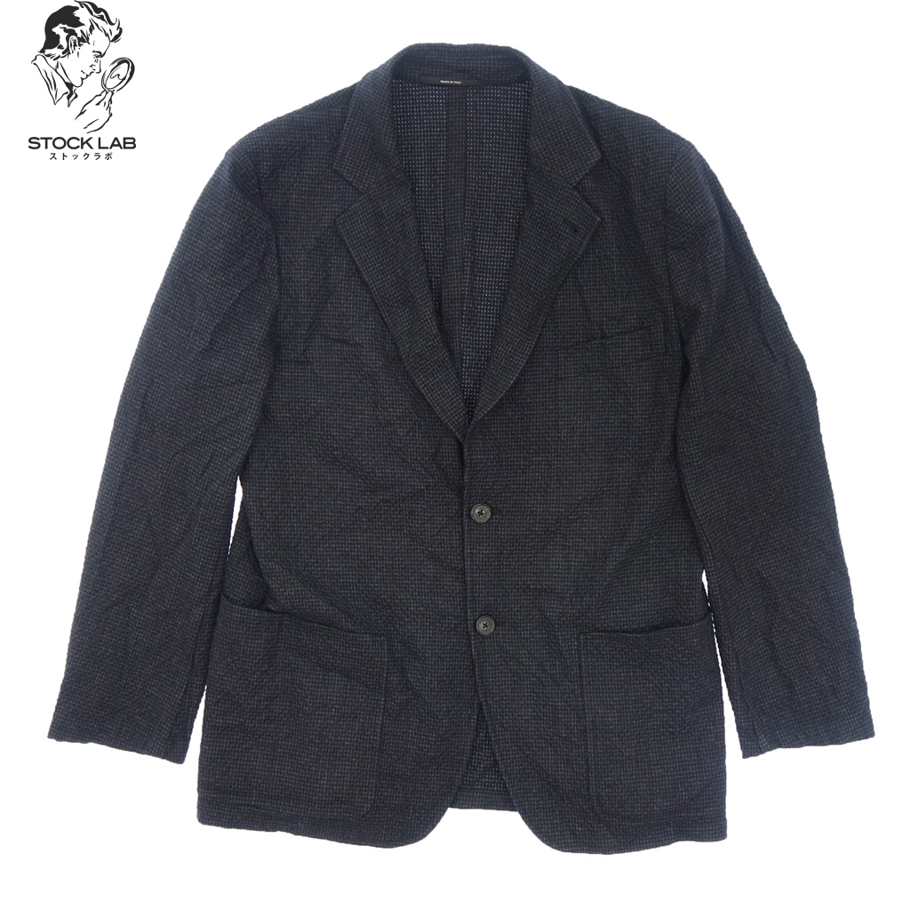 極美品◆HERMES エルメス アンゴラ混 2B ウールテーラードジャケット 本切羽 52 ネイビー メンズ