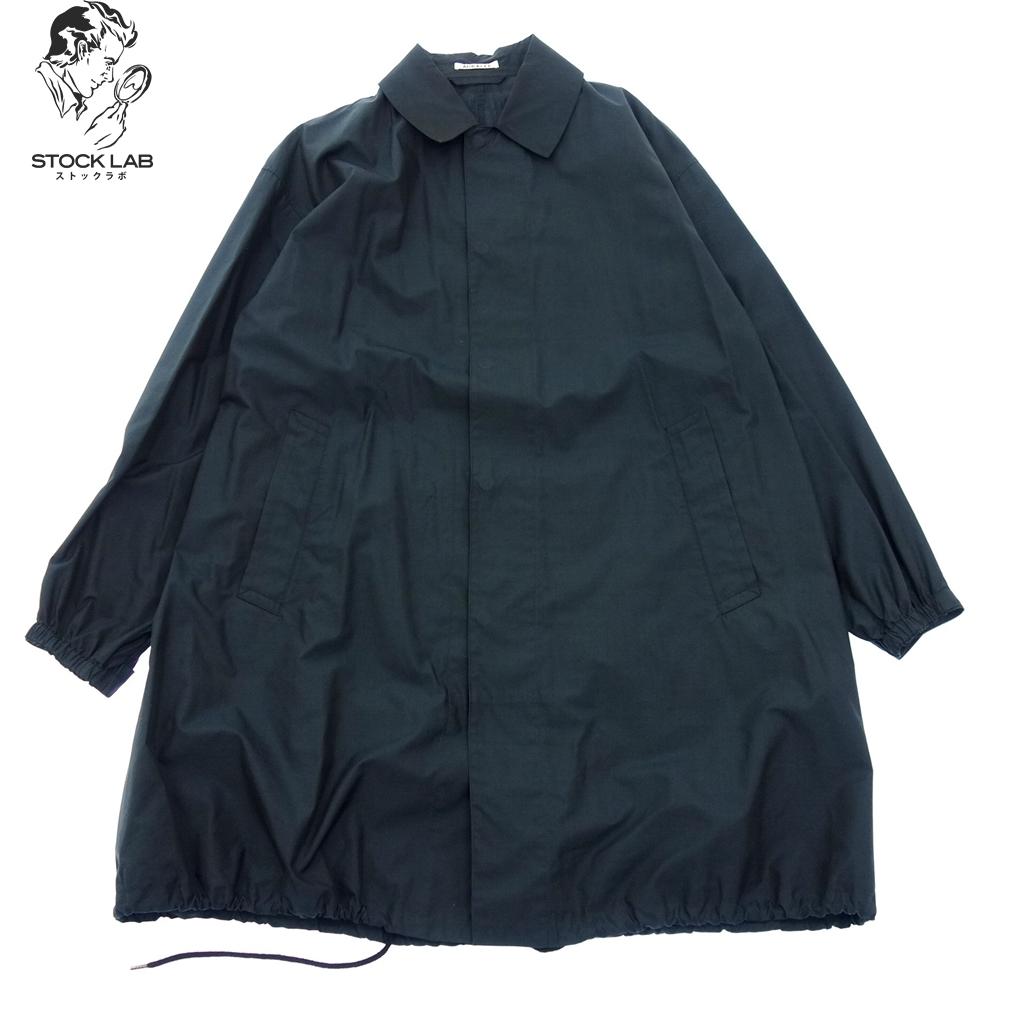 美品◆AURALEE オーラリー 17SS FINX CHAMBRAY BIG SOUTIEN COLLAR COAT シルク混 コットンコート 3 ネイビー メンズ