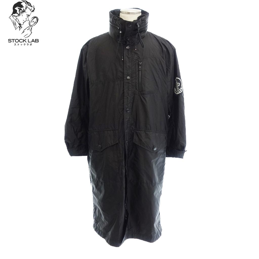 美品◆MONCLER モンクレール 19SS ナイロン スタンドカラー フード付 ロングコート 0 黒 メンズ