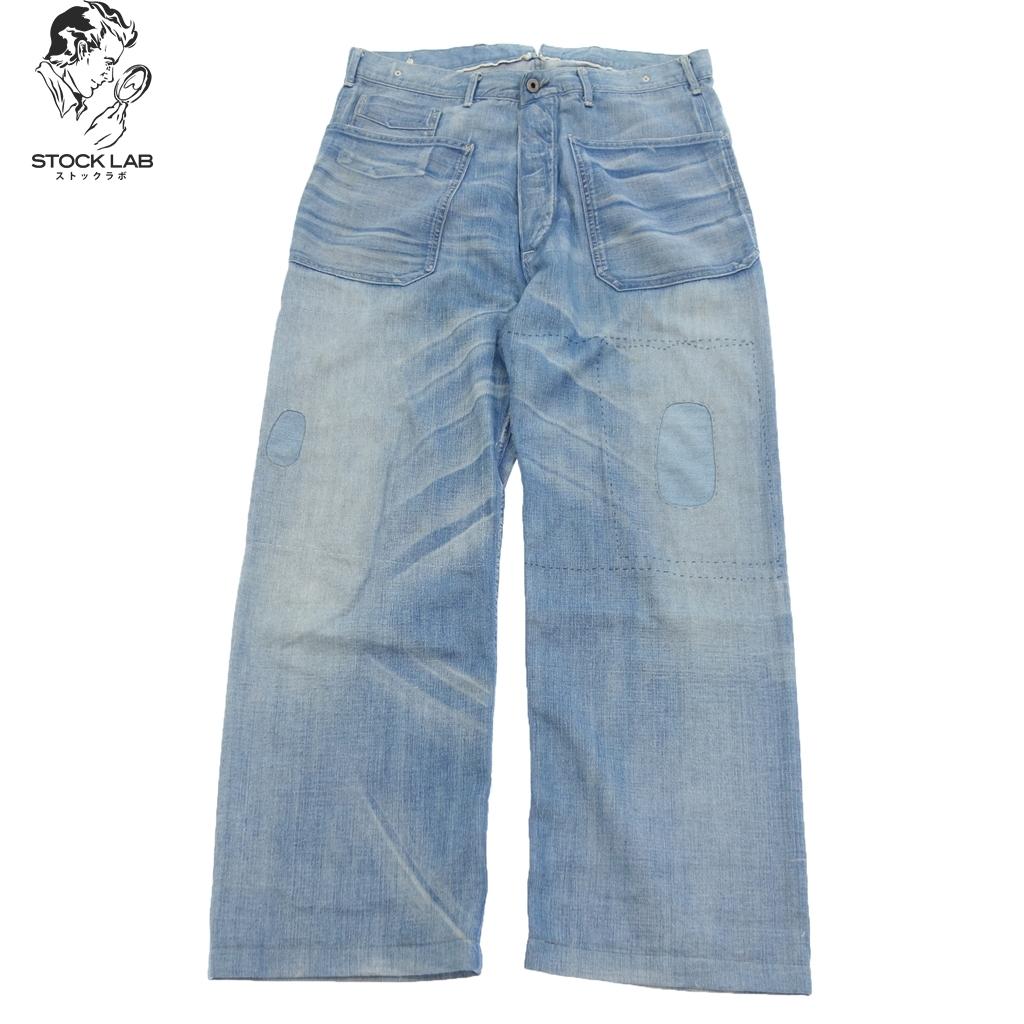 美品◆RRL ダブルアールエル パッチワーク ヴィンテージ加工 デニムパンツ ジーンズ 34/34 青 メンズ
