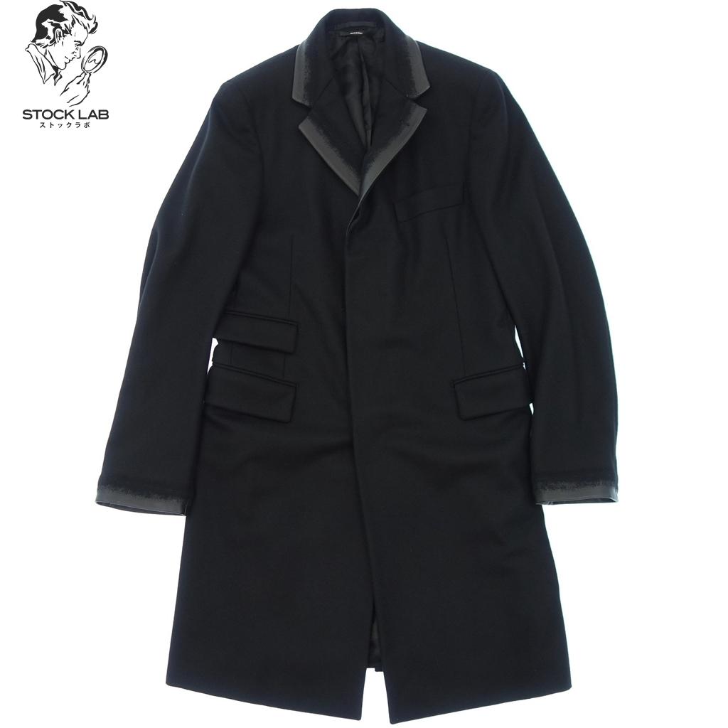 新品同様◆HERMES エルメス ラムレザー切替 super120 ウールチェスターコート 46 黒 メンズ
