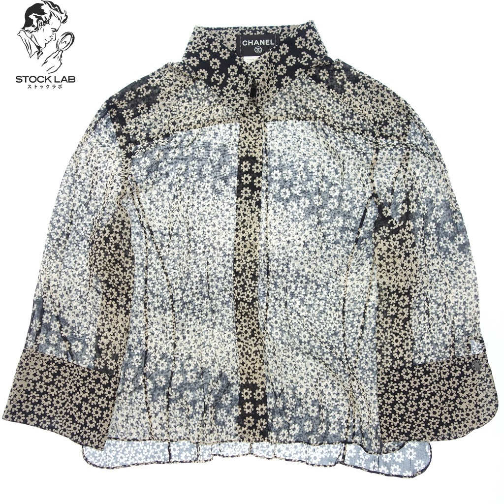 美品◆CHANEL シャネル 03P コットン 花柄シャツ ブラウス 七分袖 46 黒×白 レディース