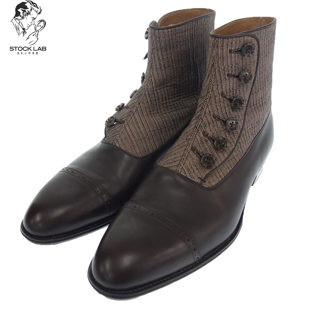 極美品◆大塚製靴 会津木綿 ボタンブーツ 25 茶 メンズ