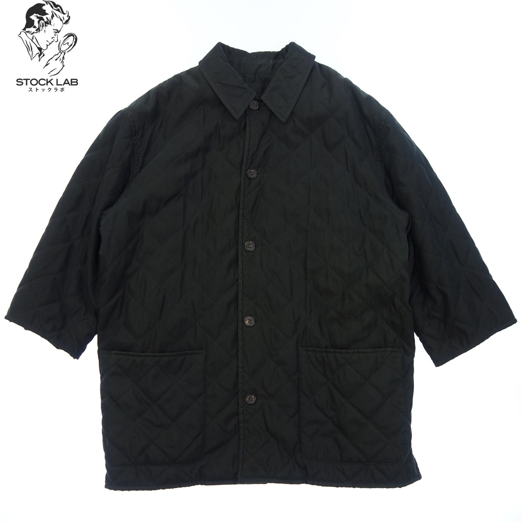 中古◆HERMES エルメス チェック柄 ウールライナー付 キルティングジャケット コート 48 黒系 メンズ