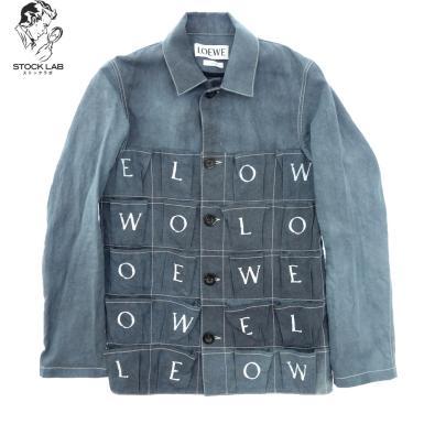 極美品◆LOEWE ロエベ アルファベット柄 リネンコットンジャケット 44 青 メンズ