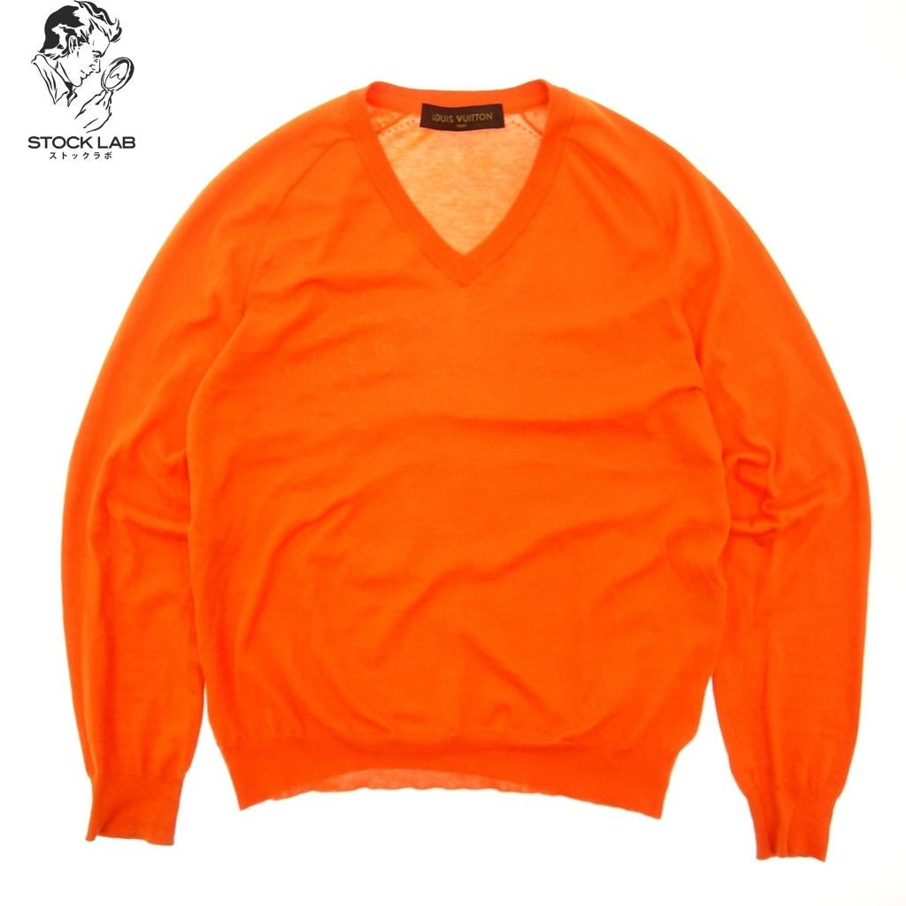美品◆LOUIS VUITTON ルイヴィトン シルク×カシミヤ混 ウールニットセーター Vネック S オレンジ メンズ