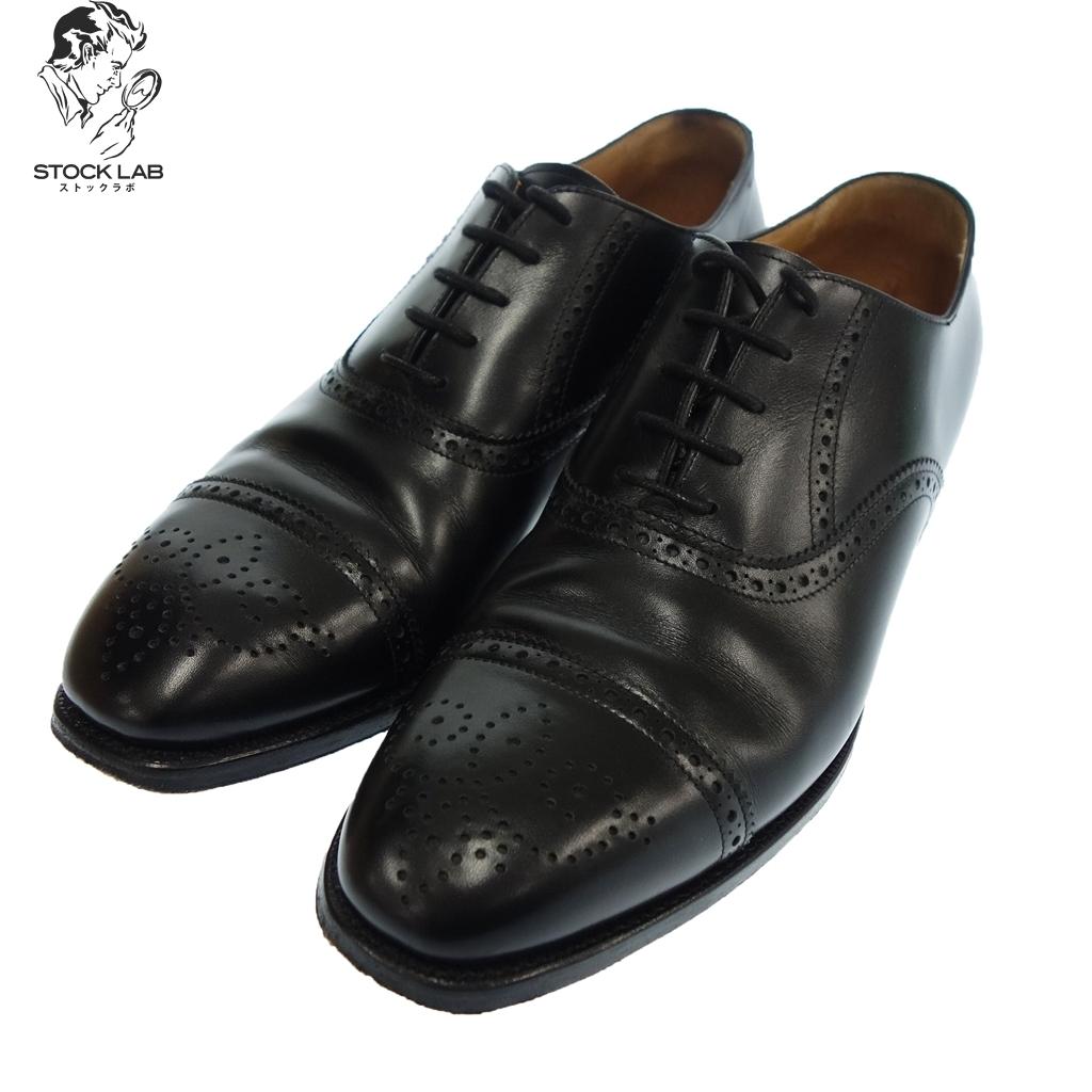 美品◆F.LLI Giacometti フラテッリ ジャコメッティ FG412 セミブローグ アニロウカーフ 42.5 黒 メンズ
