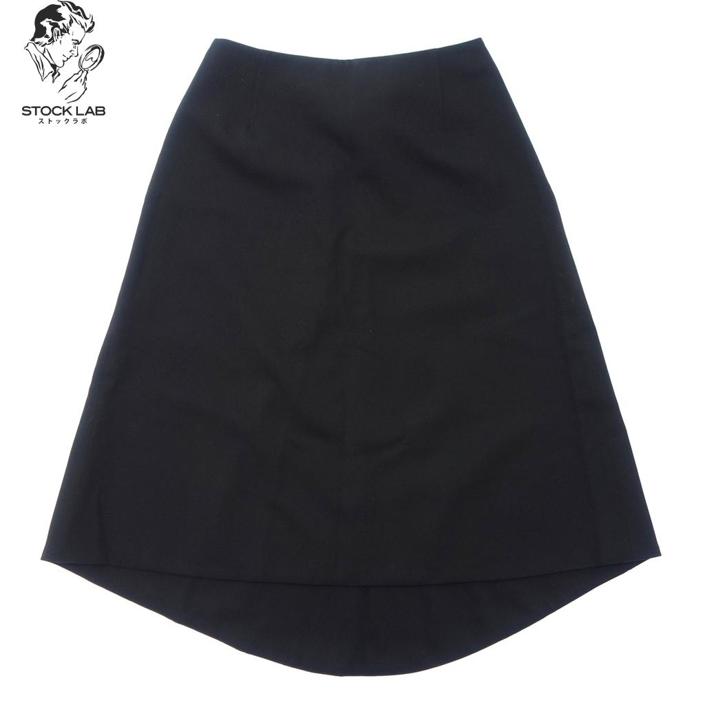 未使用◆HERMES エルメス タグ付き 現行品 アシンメトリー ギャバジンウール スカート 34 黒 レディース