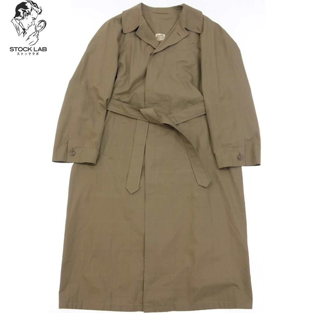 中古◆HERMES エルメス Vintage ヴィンテージ チェック柄 ロングコート ベルト付き 48 茶系 メンズ