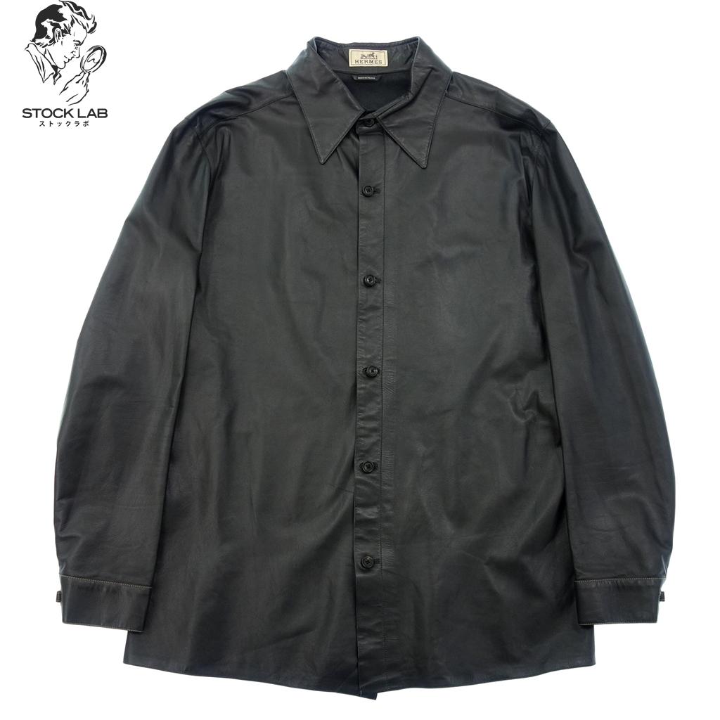 美品◆HERMES エルメス ラムスキン 羊革 レザーシャツ 52 黒 メンズ