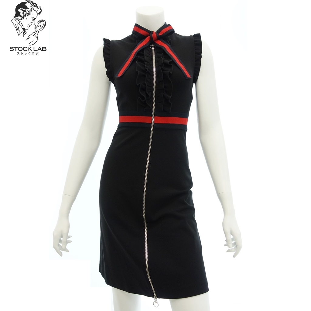 未使用◆GUCCI グッチ 434249 17AW ウェブトリム ジャージー ドレス ワンピース ノースリーブ XXS 黒 レディース