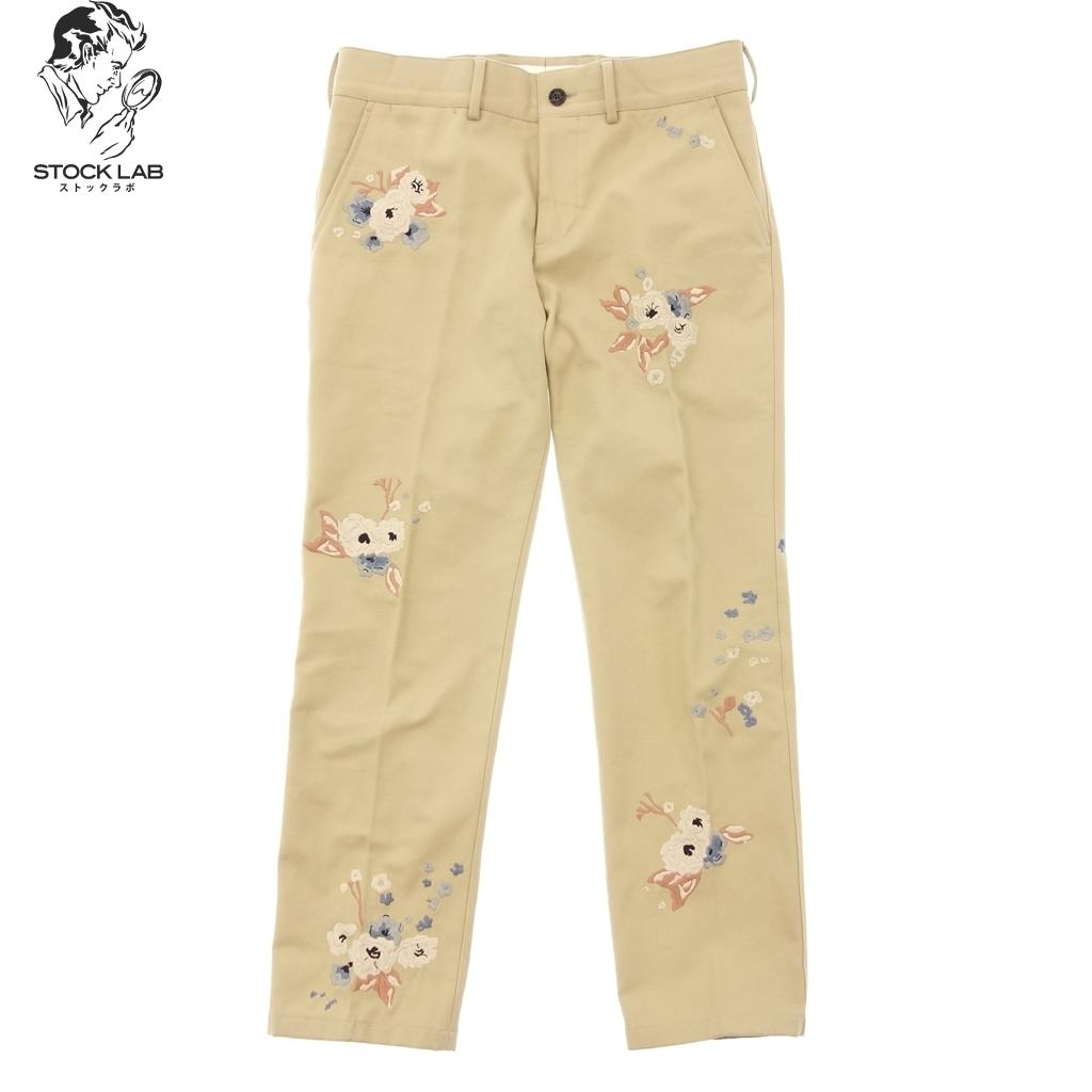 極美品◆BURBERRY バーバリー 花柄刺繍 コットンチノパンツ Floral Embroidered Cotton Chinos 48 ベージュ メンズ