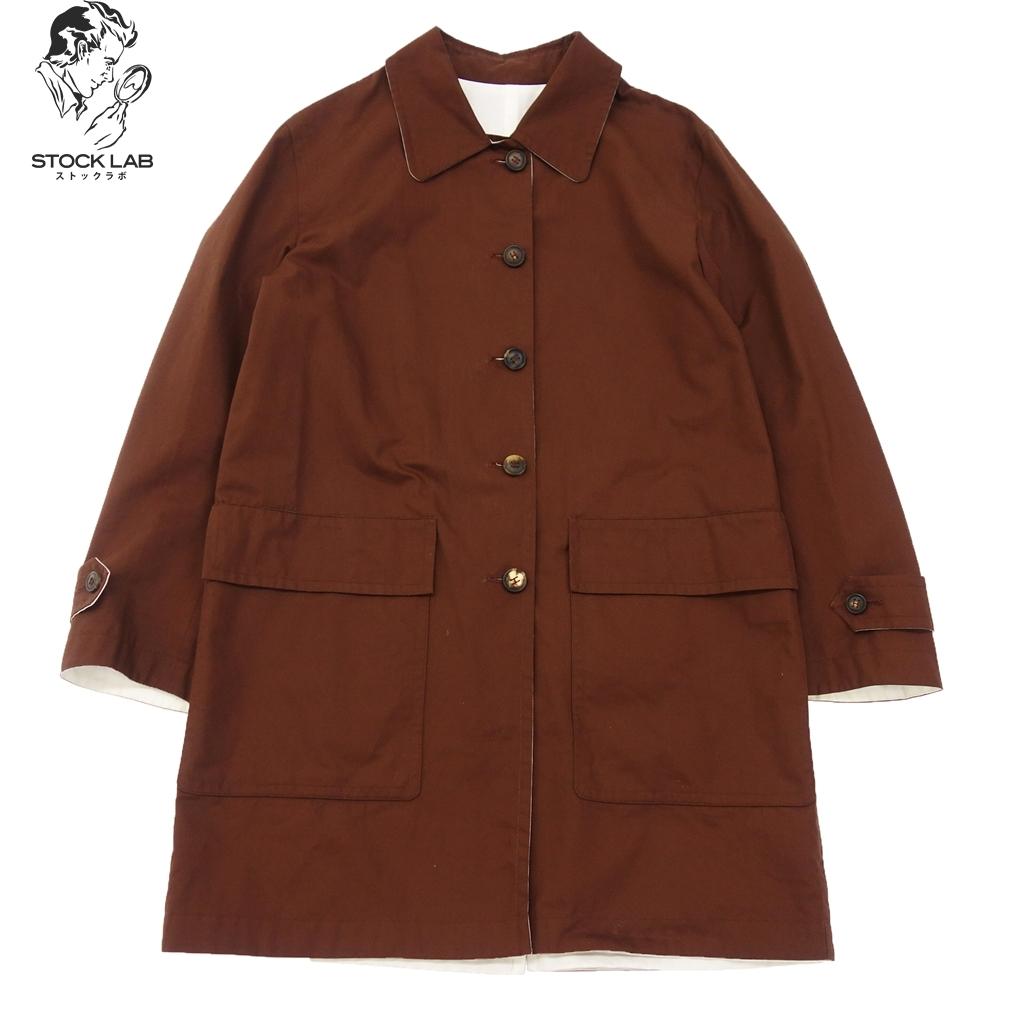 中古◆HERMES エルメス マルジェラ期 リバーシブル ステンカラーコート Hロゴ 36 白×茶 ユニセックス