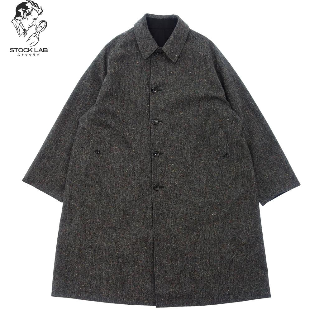 美品◆Anatomica アナトミカ 530-542-02 リバーシブル シングルラグラン ステンカラーコート オーバーサイズ 50 グレー×黒 メンズ