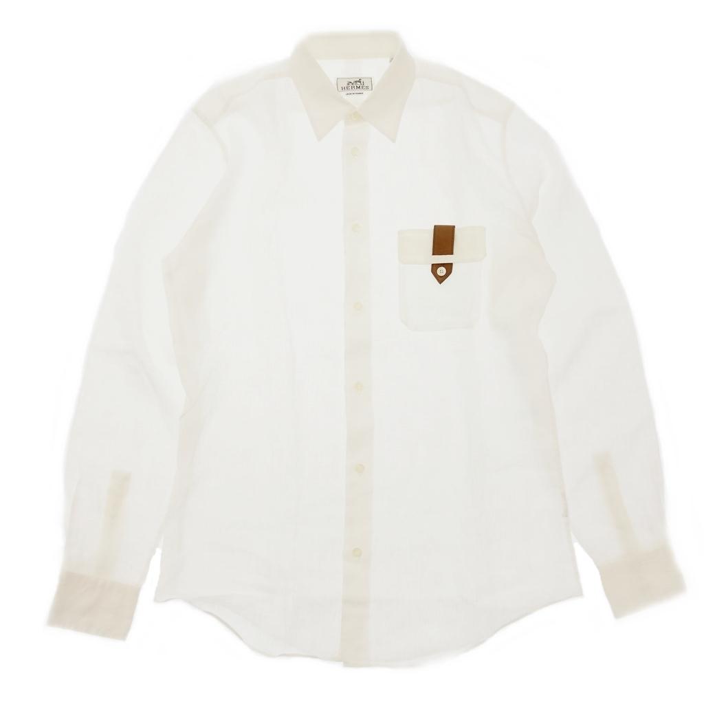 美品◆HERMES エルメス リネン 長袖シャツ セリエボタン レザーデザインポケット 39 白 メンズ