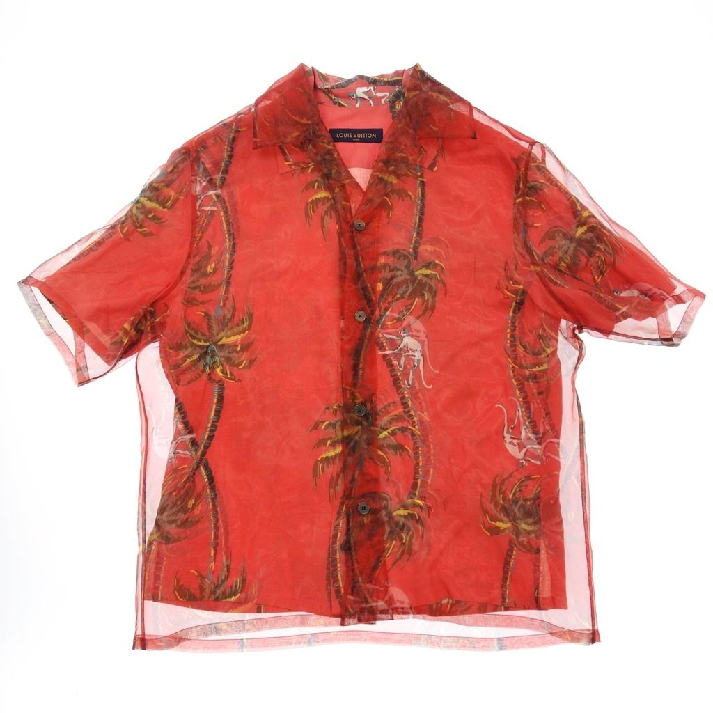 新品同様◆LOUIS VUITTON ルイヴィトン 18SS ハワイアン モンキーパーム ダブルレイヤード アロハシャツ M 赤 メンズ