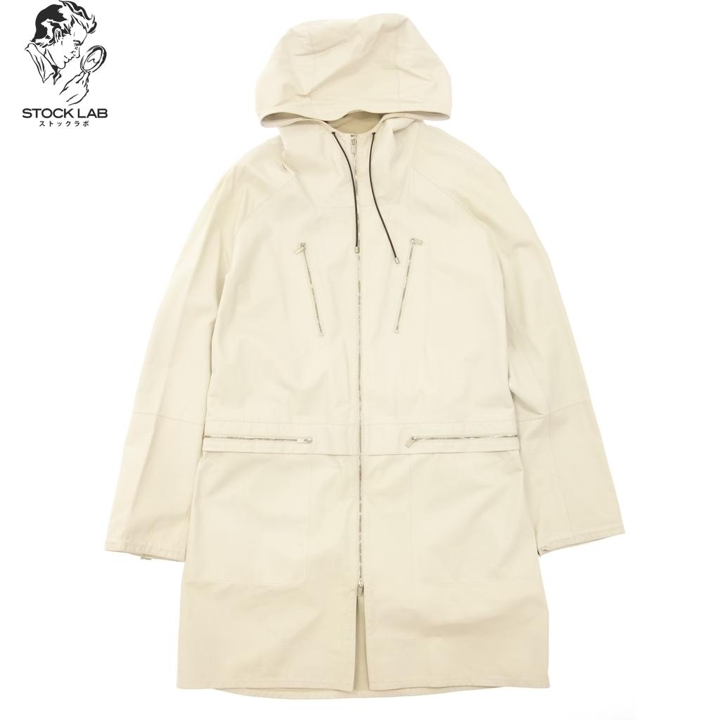 中古◆HERMES エルメス ジップアップ レザー 牛革 ロングコート フード付き 52 白 メンズ