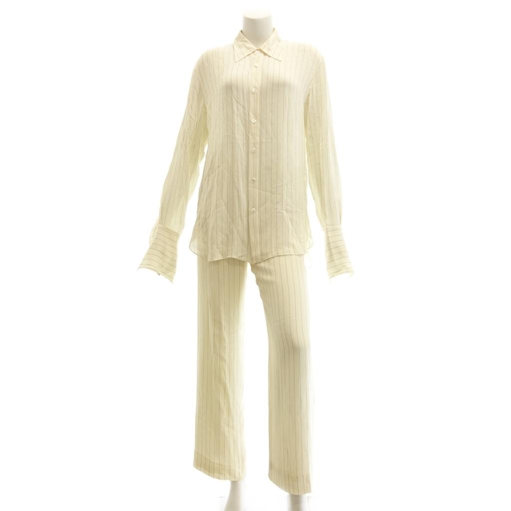 中古◆HERMES エルメス ストライプ シルク セットアップ ブラウス シャツ パンツ 40 36 ベージュ レディース