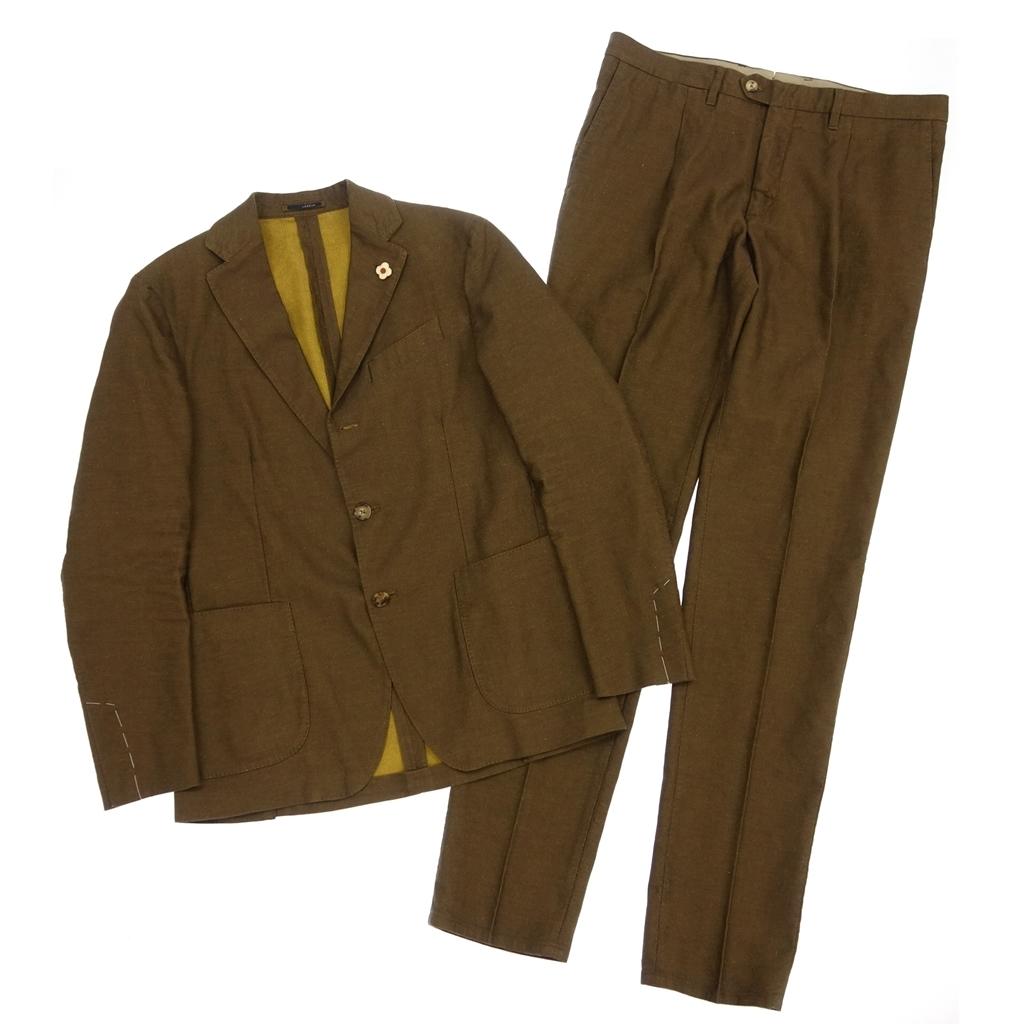 新品同様◆LARDINI ラルディーニ tessuto esclusivo リネン混 段返り 3B シングルスーツ セットアップ
