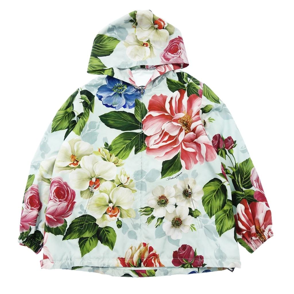 ◆Dolce&Gabbana ドルチェ&ガッバーナ 2019年 花柄 フード付 ジップアップパーカー ブルゾン キッズサイズ 7/8 マルチ レディース