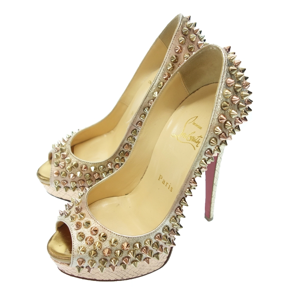 ◆Christian Louboutin クリスチャンルブタン 1170159 LADY PEEP SPIKES スパイク スタッズ パンプス 35 ピンク レディース