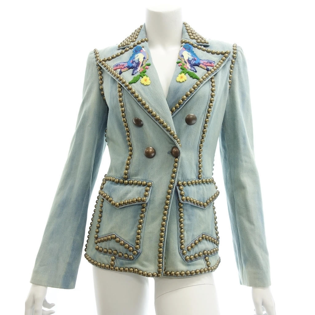 ◆GUCCI グッチ 473359 コレクション着用 デニム スタッズ ジャケット 刺繍 40 インディゴ