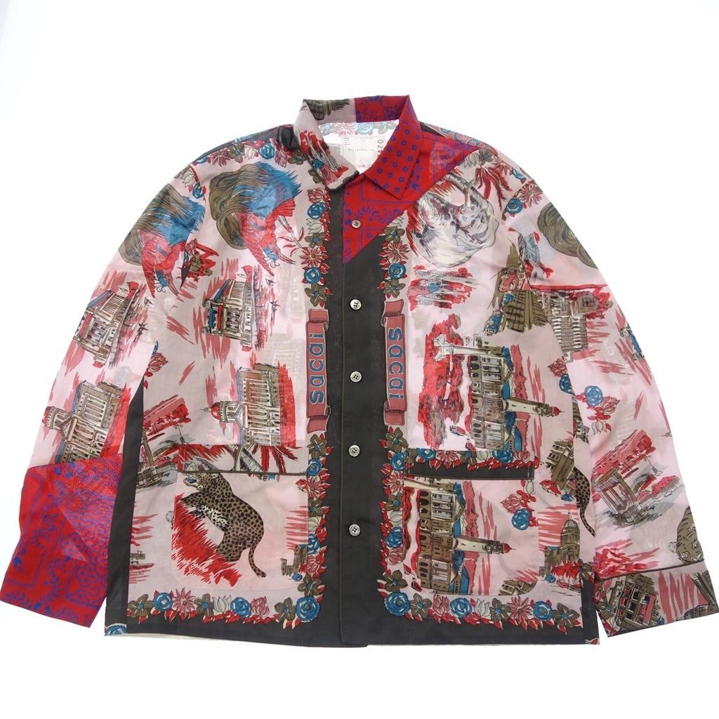 Sacai サカイ 21-02470M Archive Print Mix Shirt 長袖シャツ 総柄 プリント アシンメトリー 2 ピンク系 メンズ