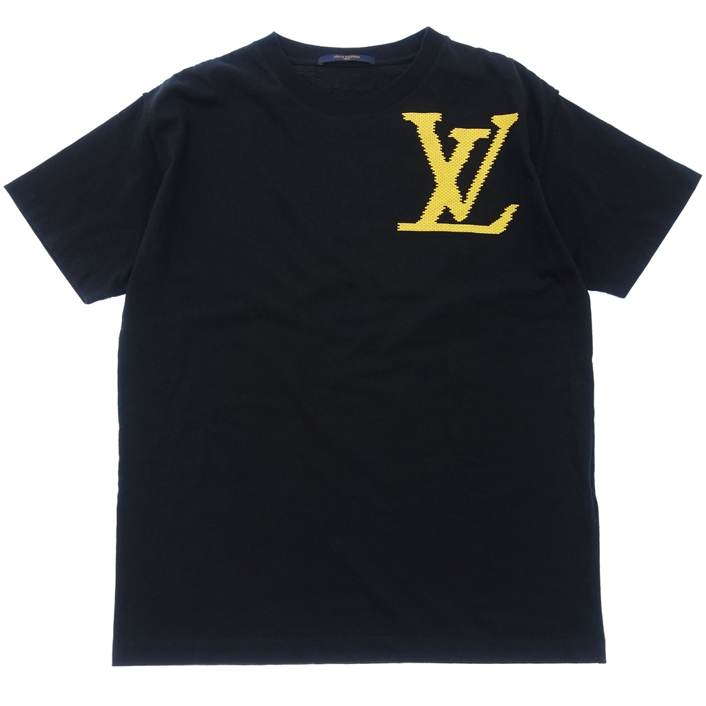 LOUIS VUITTON ルイヴィトン HGY97W LVロゴ ブリックプリント Tシャツ 半袖 カットソー 箱付き S 黒 メンズ