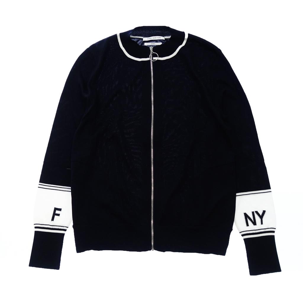 FOXEY NY フォクシーニューヨーク 40725 Sweater Track Cardigan ニットカーディガン ジップアップ 40 ネイビー×白 レディース