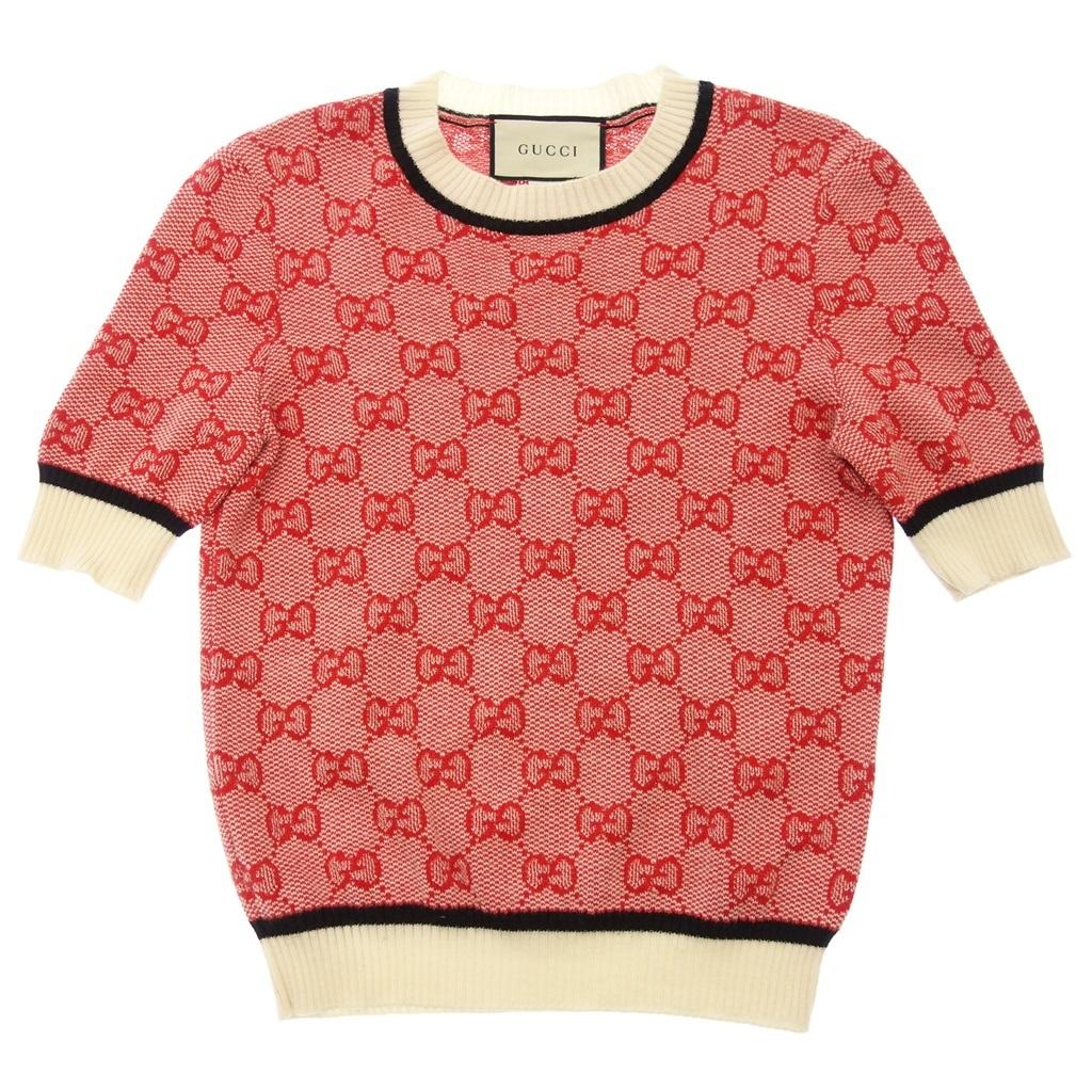 GUCCI グッチ 574164 GGロゴ ニット セーター 半袖トップス XS 赤 レディース